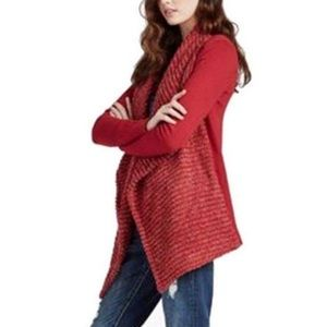 Lucky Brand Red Draped Front Cardigan 7W71986 - M
